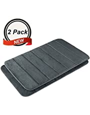 2 PCS Large Non-Slip Memory Foam Bath Mat with Water Absorbent Soft Microfibers for Bathroom Toilet Kitchen Floors Rug Carpet