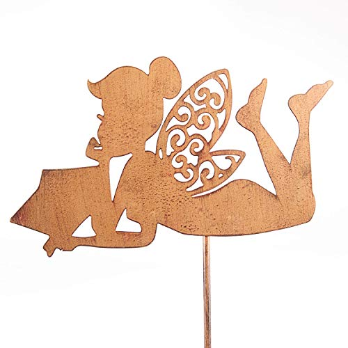 - ART & ARTIFACT Reading Fairy Garden Stake - Decorative Antiqued Iron Yard Sculpture