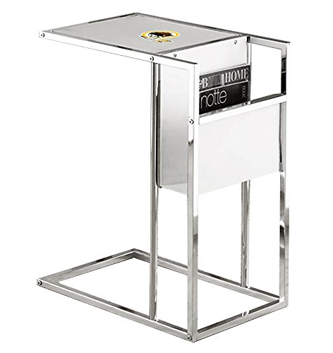 Team Under Logo Glass (New Chrome Finish Slide-Under TV Tray with a Frosted Glass Shelf, Magazine Rack & Your Choice of Football Team Logo! (Redskins))