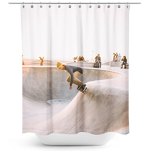 Westlake Art - Skateboarding Sport - Fabric Printed Shower Curtain - Picture Photography Waterproof Mildew Resistant Hook Bathroom - Machine Washable 71x74 Inch (08727)