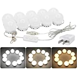 Hollywood Style LED Vanity Mirror Lights Kit with Dimmable Light Bulbs Lighting Fixture Strip for Makeup Vanity Table Set in Dressing Room Bathroom(10 Light Bulbs)