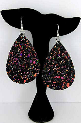 Black and Rainbow Glitter Faux Leather Large Teardrop Dangle ()