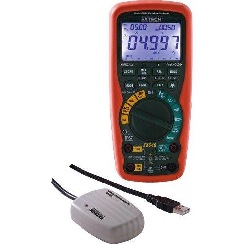 Wireless True Rms Multimeter - Extech Instruments - EX540 - FLIR (Extech) EX540 Wireless True-RMS Industrial Multimeter/Datalogger; 0.01 Milli-Volt - 1000 Volt AC/DC, 0.01 Micro-Amp - 20 Amp, 40 Hz - 4 Kilo Hz Electrical, 0.001 Hz