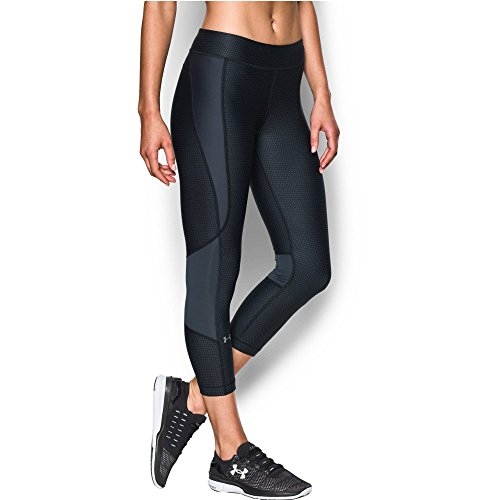 Under Armour Women's HeatGear Armour Printed Crop, Black/Stealth Gray, Small