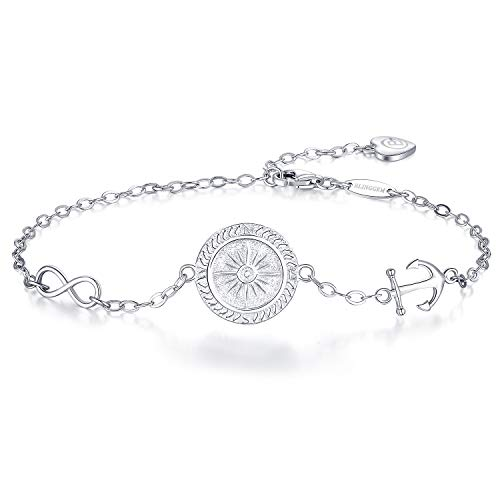 (BlingGem Silver Compass Bracelet for Women Symbol No Matter Where White Gold Plated 925 Sterling Silver Jewelry for Women Direction Engraved)
