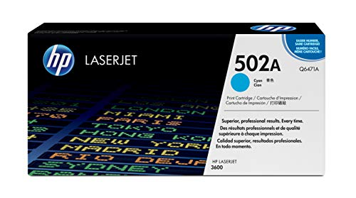 - HP 502A (Q6471A) Cyan Toner Cartridge for HP Color LaserJet 3600