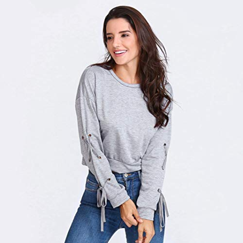 Autunno Sleeve Junjie Con Maniche Casual Hoody Lunghe Women's Hoodie Up Sweatshirt Pullover Long Felpa Moda Lace Inverno Cappuccio E Gray wRR8Yrfq