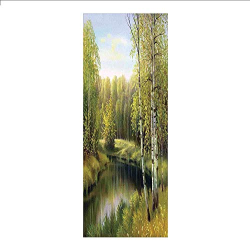 Birch Nursery River - Yaoni 3D Decorative Film Privacy Window Film No Glue,Forest,Birch Tree Forest in Autumn Leafless Branches Calm River Oil Painting,Green and Light Blue,for Home&Office