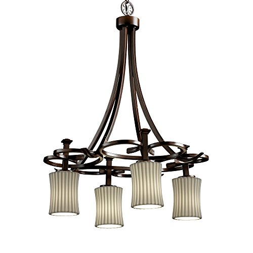 Justice Design Group - Limoges Collection - Arcadia Downlight Chandelier - Hourglass - Dark Bronze Finish with Pleats ()