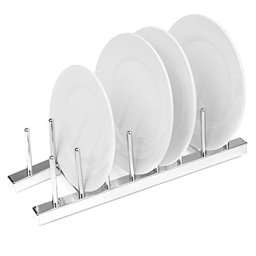 Chrome Plated Kitchen Countertop Dish Drying Rack, 7 Slot Plate Organizer