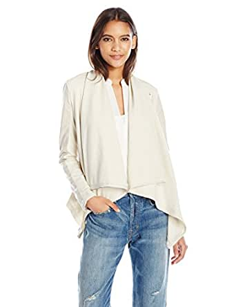 [blanknyc] Women's Faux-leather and Knit Jacket, Beige, X-Small