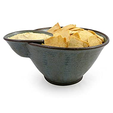 American Made Stoneware Pottery Deep Dish Chip and Dip Bowl in Blue Wren Wood Ash Glaze