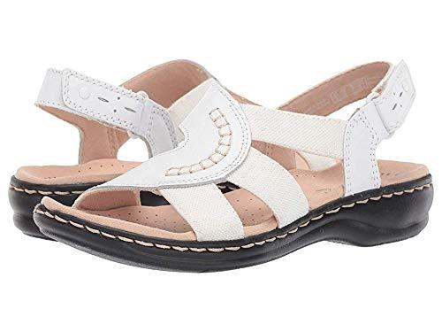 CLARKS Women's Leisa Joy Sandal White Leather/Textile Combo 070 N US ()