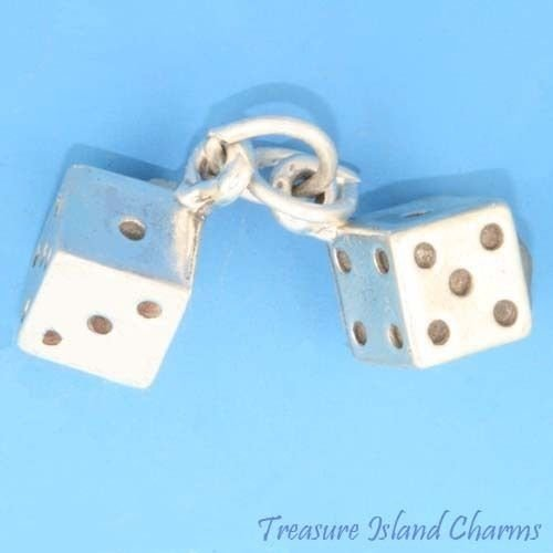 Lucky Pair of Dice Movable 3D .925 Solid Sterling Silver Charm Gambling Casino - Jewelry Making Supply by Charm Crazy