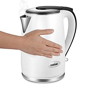 Electric Kettle Cool Touch Double Wall, Stainless Steel Interior with Auto Shut Off, 2 Liter - Stariver Limited Time Deal