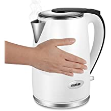 Electric Kettle Cool Touch Double Wall, Stainless Steel Interior with Auto Shut Off, 2 Liter - Stariver Deal)