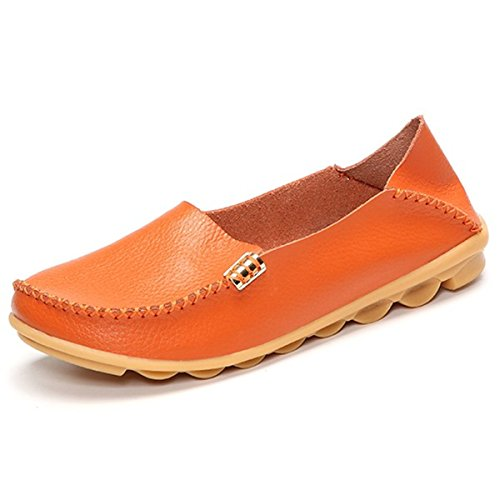 Women Leather Shoes Color Flats Slip On Loafers Orange - 6