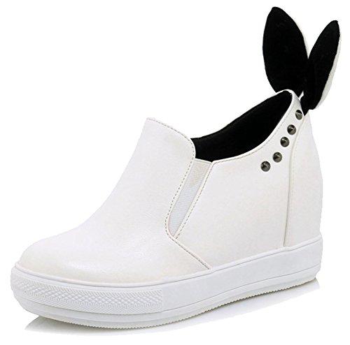 Easemax Kvinna Trendiga Nitar Rund Tå Mitten Dold Häl Elastiska Sneakers Vita