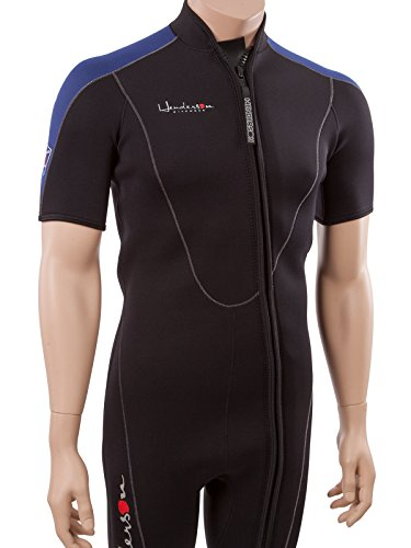 (Henderson Thermoprene Men's 3mm Shorty Wetsuit Springsuit Front Zip, Black/Blue, Large)