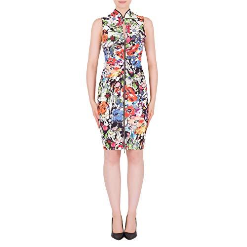 Joseph Ribkoff Multi-Color Printed Micro Twill Zip Front Sleeveless Sheath Dress - Style 191639 Size - Sleeveless Twill Dress