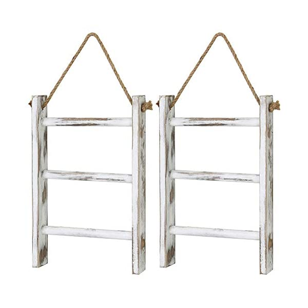 MyGift 3-Tier Wall Hanging Whitewashed Wood Mini Hand Towel Storage Ladder with Top Rope, Set of 2