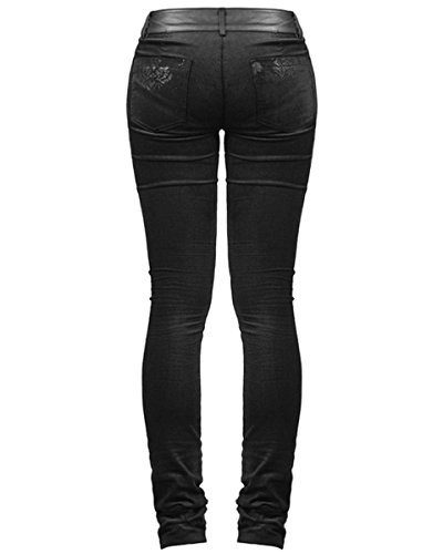 Noir Victoriana Pantalon Damas Gothique Jeans Punk Skinny Steampunk Vtg Rave YRq5wwU