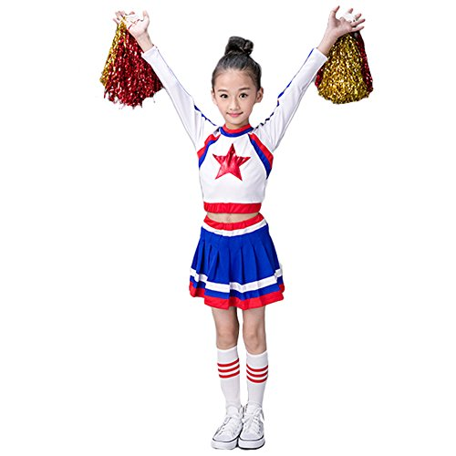 Girls Cheerleader Uniform Outfit Costume Youth Red Star