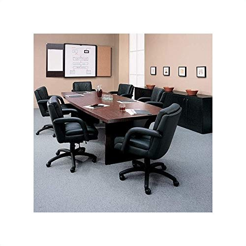 Global Total Office Boat Shaped 10 Conference Table with Slab Base – Mahogany – Mahogany