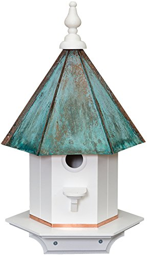 Single Hole Vinyl PATINA Bird House With Copper Roof Amish Made In USA 24  Inches TALL
