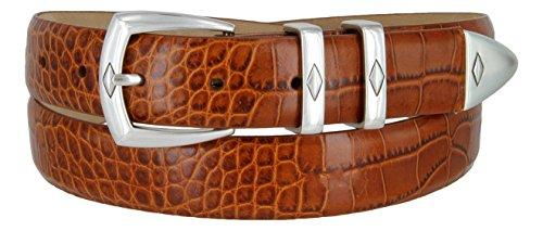 The Canyon Men's Italian Leather Designer Dress Belt (48, Alligator Tan)