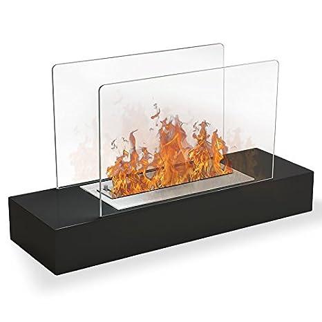 Ceccina – Chimenea de etanol negra – Pequeña estufa ecológica móvil y portátil, para poner en el suelo o en una mesa: Amazon.es: Hogar