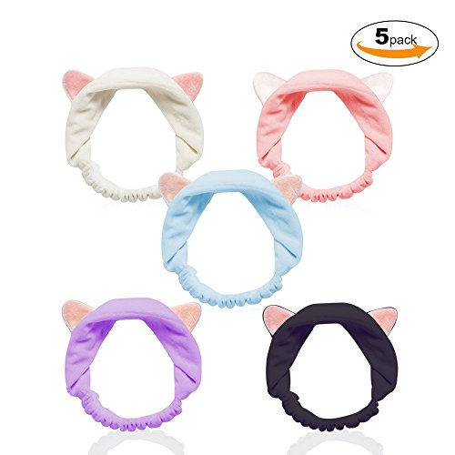 Cat Ears Headbands, Teenitor Elastic Women's Lovely Etti Hair Band, Colourful Cloth Spa Headband-Washable Facial Band Makeup Wrap Headbands Christmas Gift Fits All Head Sizes, 5pcs