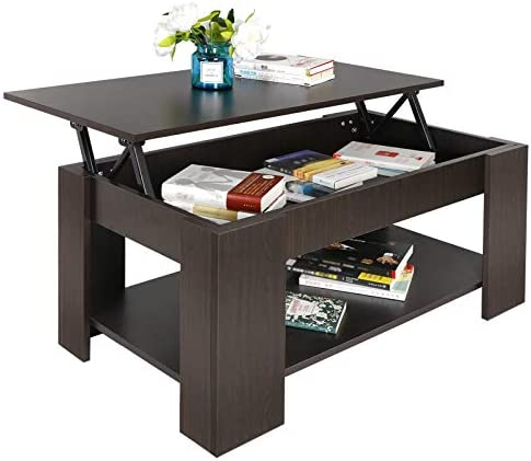 SUPER DEAL Lift Top Coffee Table w Hidden Compartment and Storage Shelves Pop-Up Storage Cocktail Table