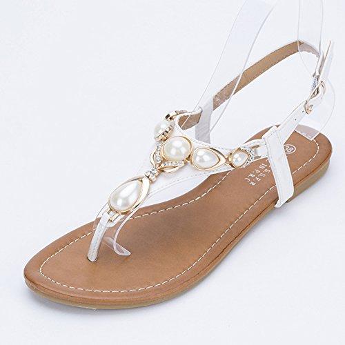 LvRao Muier Sandalias Verano Zapatos Peep-dedo del pie Zapatos Bajos Sandalias Perla Blanco
