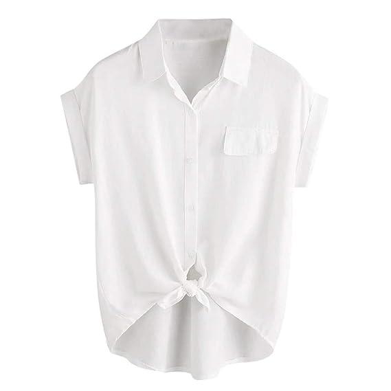 Camisas de Mujer Primavera Moda Verano Mujeres Puño Enrollado sólido Camisa con Dobladillo Anudado Botón Blusa Superior Casual Camisas de Mujer: Amazon.es: Ropa y accesorios