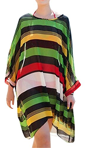 Women's Oversized Stripe Beach Bikini Swimwear Cover-up,Green Stripes