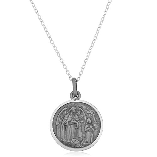 (Kooljewelry Oxidized Sterling Silver Guardian Angel Medal on Cable Chain (18 inch))