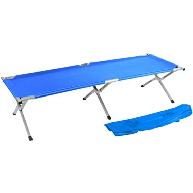 75  Portable Folding Camping Bed & Cot - 260 lbs. Capacity By Trademark Innovations (Blue)