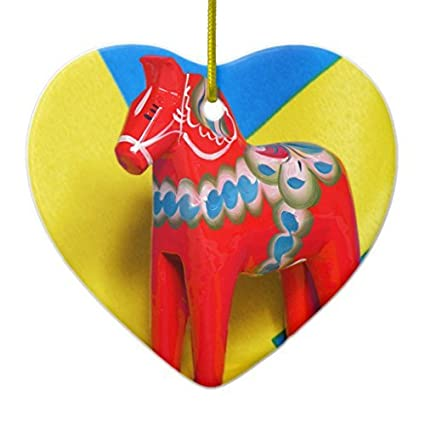 christmas gifts sweden dala horse ceramic ornament heart xmas decor ornament yard decorations - Christmas Horse Yard Decorations