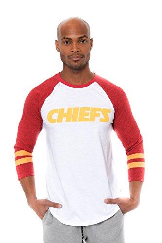 ICER Brands Men's T Raglan Baseball 3/4 Long Sleeve Tee Shirt, White, Small - Kansas City Chiefs Crew Sweatshirt