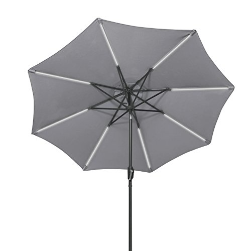 Grey 9FT Solar Powered LED Umbrella With Heavy Duty Steel Cross Base Sun Tent Rain Shelter Tilt Operation Lawn Market Garden Backyard Pool Side Beach Patio Outdoor Deck Furniture - Or Eugene In Shopping