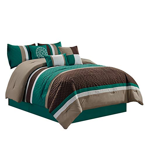 Boston 7-Piece Pinsonic Quilted Trellis Quatrefoil Design Striped Pleated Bedding Comforter Set (Queen, Teal)