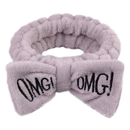 Cute Women Letter Bowknot Plush Headband Face Washing Hair Band Elastic Headwear - -