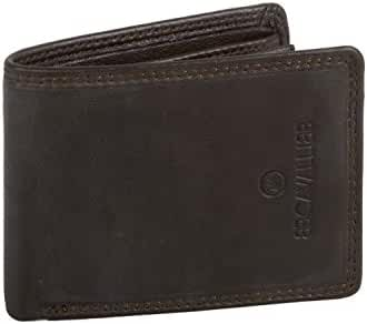 MIni wallet man B.CAVALLI moro real leather with central flap A5731
