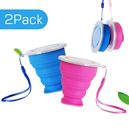 Eastshining Collapsible Travel Portable Cup Telescopic Outdoor Camping Mug with Food-Grade Silicone Pocket-Sized Drinking Water Wine for Hiking Picnic 6.7oz(200ml) with Lid-Blue and Rose Red