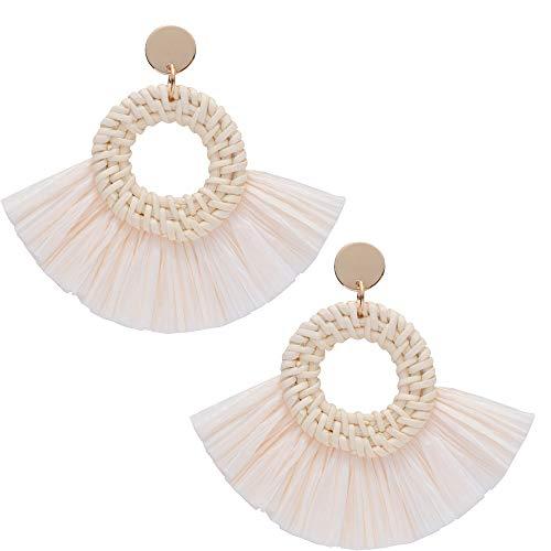 Leap KOI Statement Drop Earrings Bohemian Rattan Long Dangle Drop Earrings Vintage Chandelier Gold Stud Earrings (Beige White)