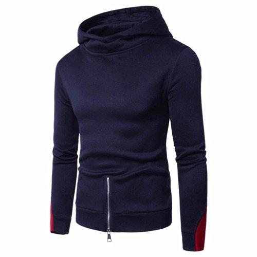 Muranba Men's Long Sleeve Zipper Hoodie Hooded Sweatshirt Top Tee Outwear Blouse (Navy, - Lenses How Oakley To Repair