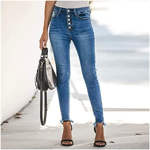 Women's Hight Waisted Hole Button Denim Jeans Stretch Slim Pants 4