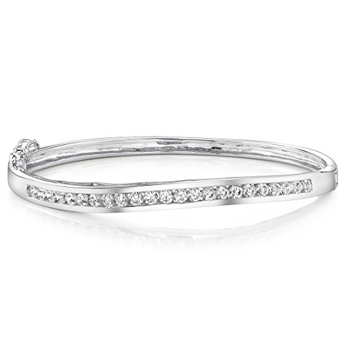 Sterling Silver Rhodium Nickel Finish Channel Set CZ Hinged Bangle Bracelet