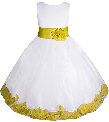 Flower Girl Dresses Yellow And White (AMJ Dresses Inc Little-Girls' White/Yellow Flower Girl Dress E1008 Sz)